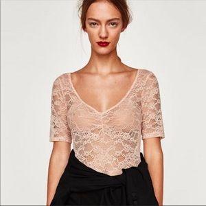 Zara Nude Pink Lace Bodysuit NWT